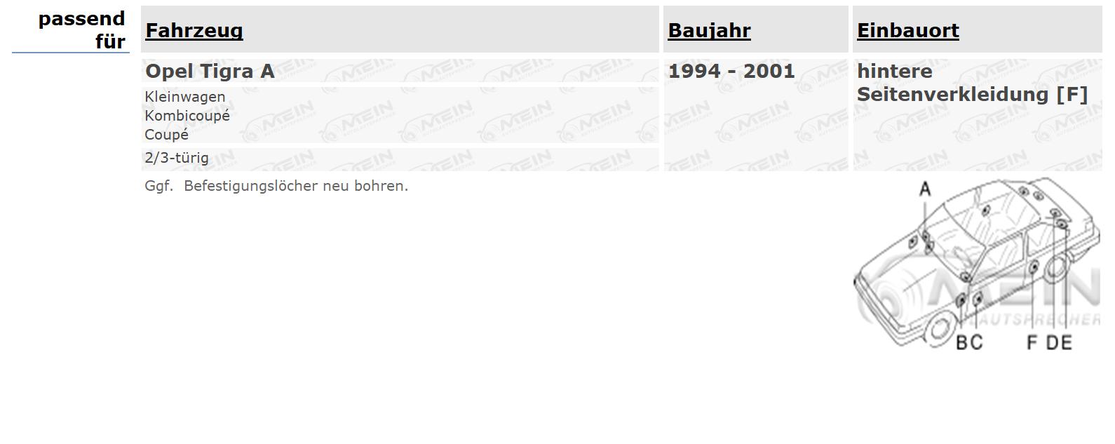 JBL LAUTSPRECHER für OPEL TIGRA A 1994-2001 Heck Hinten Seite 2-Wege 150W #ASB0