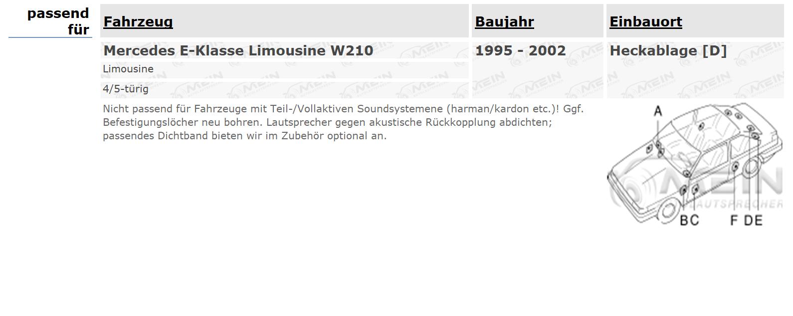 JBL LAUTSPRECHER für MERCEDES E-KLASSE Limousine W210 1995-2002 Heckablage #A9S2