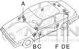 Lautsprecher Einbauort = Seitenstege Heck [E] <b><i><u>- oder -</u></i></b> hintere Seitenwandverkleidung [F] für Calearo 2-Wege Koax Lautsprecher passend für VW Polo II / 86c 2F   mein-autolautsprecher.de