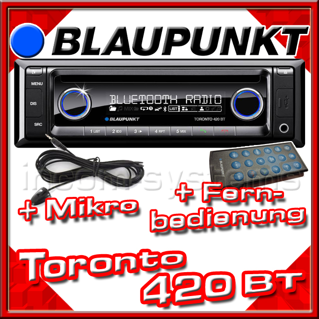 blaupunkt toronto 420 bt mikro fernbedienung iphone kompat. Black Bedroom Furniture Sets. Home Design Ideas